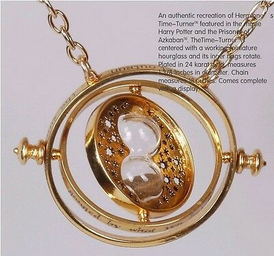 Harry Potter Time Turner Hermione Granger Rotating Spins Gold Hourglass Necklace