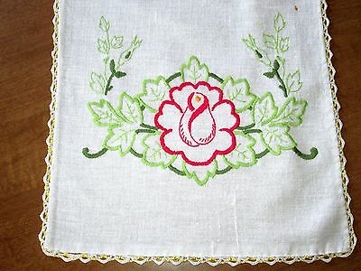 """TABLE RUNNER SCARF VINTAGE - 10"""" X 36"""" Linen Embroidered Crocheted White Florals"""
