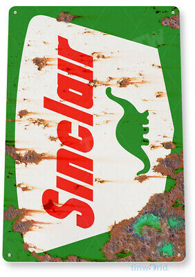 "TIN SIGN ""Sinclair Gas Rust"" Dino Oil Metal Station Garage Auto Shop Shed  A609"