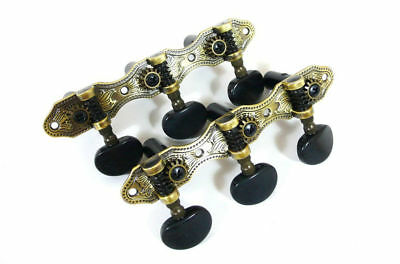 Antique Brass Classical Guitar Tuning Pegs - Variations wood button-405AB