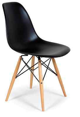 Set of 2 Black Eames Style Shell Dining Chair with Wood Legs