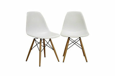 Set of 4 White Herman Miller Eames Shell Dining Chair with Wood Legs