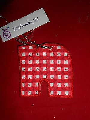 """New Initial Red Plaid """"N"""" Key Chain Luggage Tag by Bugaboodles"""