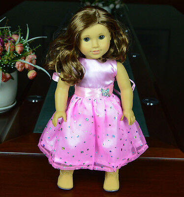 """Doll Clothes fits 18"""" American Girl Handmade Pink Party Dress"""