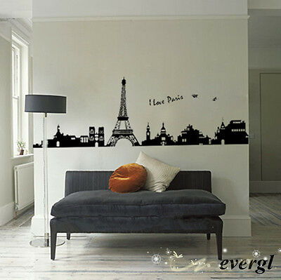 Quote word EIFFEL TOWER wall Sticker Mural PARIS Decor Art Vinyl Decal Black