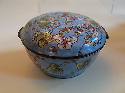 "Hij220 Chinese Canton Enamel Trinket Box 3 1/2"" Wide"
