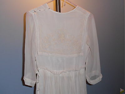 Edwardian Victorian Silk Ivory Tea Dress Embroidered Antique Vintage Lined 1900s