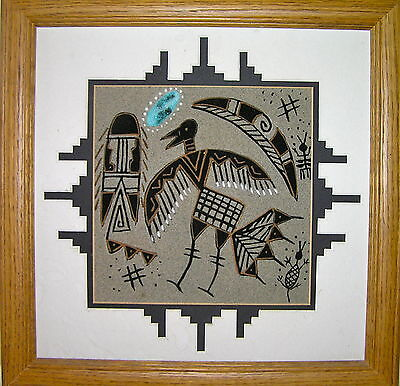 Original Yazzie Native American Navajo Framed Sandpainting for Healing Ceremony