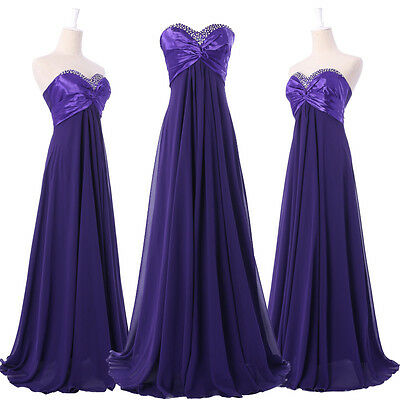 Long Formal Prom Ball Gown Homecoming Wedding Party Purple Graduation Dress Sz 6