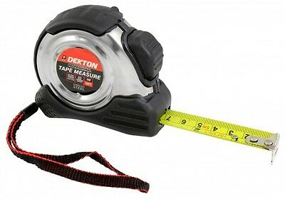 Dekton 5m 16ft Tape Measure Imperial Metric With Belt Clip & S/Steel Case