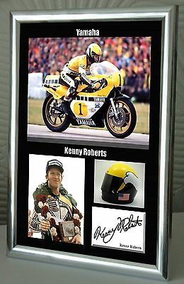 """Kenny Roberts Motor Cycle Framed Canvas Print Signed """"Great Gift"""""""