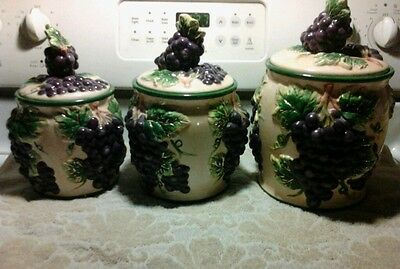 3 Piece Set Gilded Grapes Canisters