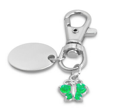 personalised keyring with gift pouch Green Pawprint PL109 Custom Engraved