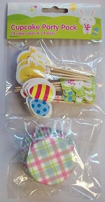 Pack Of 24 Easter cupcake Cases & 24 Easter Pick Decorations Easter Party Cakes