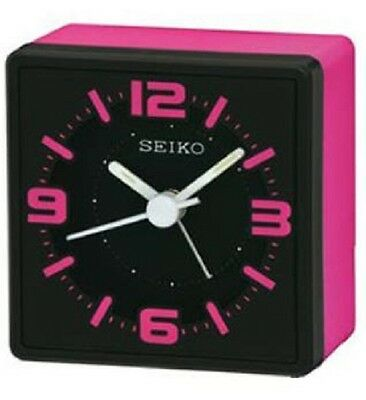 Seiko QHE091P Neon Pink Cube Style Analogue Snooze Bedside Beep Alarm Clock New