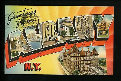 Large Letter linen Vintage postcard New York NY, Albany Tichnor 1947