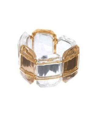 Gymboree Holiday Shine Faceted Clear N Gold Gem Bracelet 1-Ct Nwt
