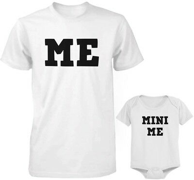 Dad and Baby Matching White T-Shirt and Bodysuit Set - Me and Mini Me