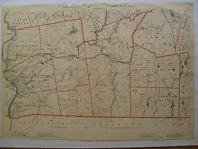 1891 Original Map Hampden County Towns MA Mass Springfield Palmer Brimfield