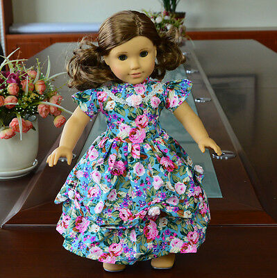 "Doll Clothes fits 18"" American Girl Handmade Blue Flower  Party Dress"
