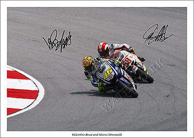 Valentino Rossi And Marco Simoncelli Signed Photo Print Poster Motogp