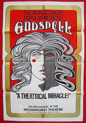 Godspell 1976 Broadway theater poster Broadhurst Theatre David Byrd artwork