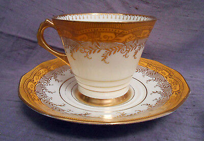 Plant Tuscan China Made in England Tea Cup and Saucer Ivory Yellow Gold 4099A