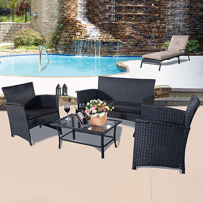 4PC Rattan Outdoor Garden Furniture Patio Sofa Set Conservatory Table & Chairs