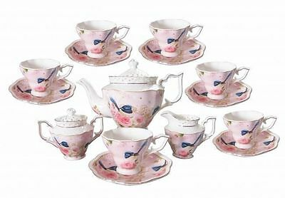 Fine Bone China Blue Wren 15pcs Tea set