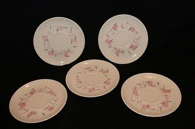 VERNON'S Ware * Tickled Pink Saucers* 5 Pcs