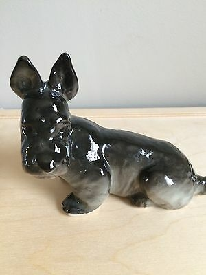 Vintage Scottish Terrier figurine Made in USSR gray and black