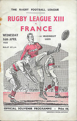 1958 - Rugby League XIII v France, Match Programme.
