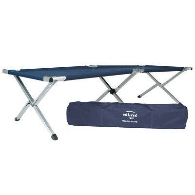 Mil-Tec Us Camping Sleeping Cot 190X65cm Aluminium Folding Travel Guest Bed Blue
