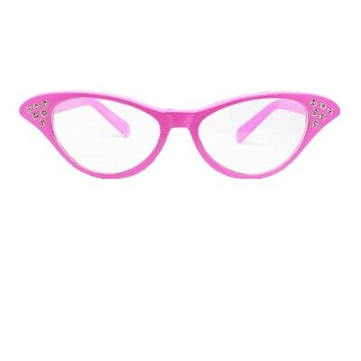 Ladies Pink Fancy Dress Glasses 50'S 1950S Rock And Roll Costume