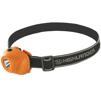 Highlander Tactical Beam 1W Led Headlamp Camping Handsfree Bright Torch Orange