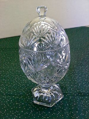 Clear glass trinket candy dish with lid, egg shaped on pedestal