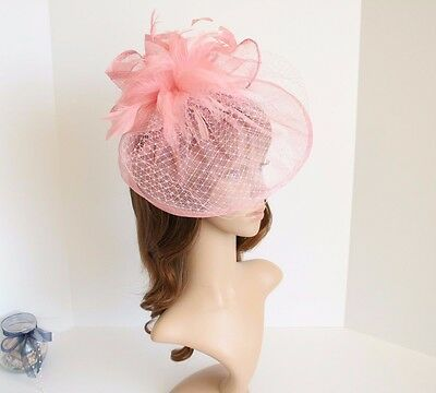Jumbo NEW Church Derby Wedding Feather floral Sinamay Fascinator Pink 511