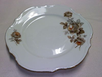 "6 3/4""plate with painted brown grey rose design P P with anchor # 52 gold trim"