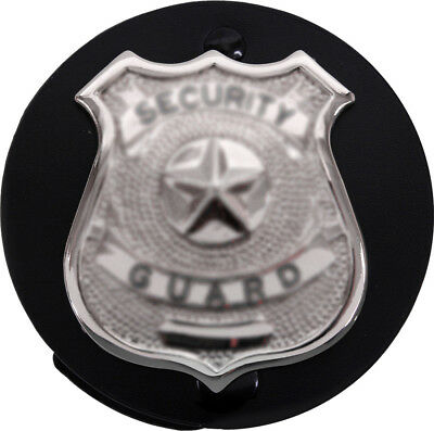 Black Round Leather Clip On Law Enforcement Badge Holder