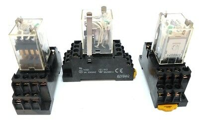 Omron, Relay, Type My4N, 24 Vdc, Socket 02Y8W2 5 Amps, 250 Vac Max, Lot Of 3