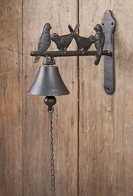Farmhouse/Cottage/Primitive/Country Bird Buddies Wall Mounted Decor Bell