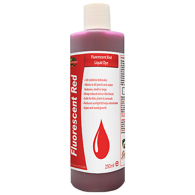 Garden Pond Lake Fountain Water Colourant HYDRA FLUORESCENT RED LIQUID DYE 250ML