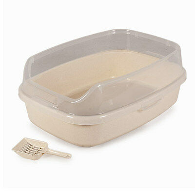 Purrshire Anti-bacterial Plastic Cat Loo Litter Box Tray with Scoop - X Large