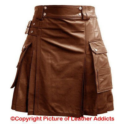 Mens BROWN Leather Gladiator Pleated Utility Kilt FLAT FRONT TWIN CARGO POCKETS