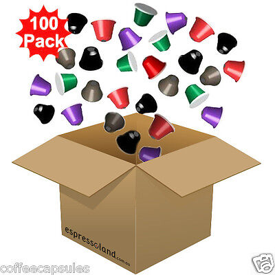 100 Nespresso Compatible Coffee Capsules - MIXED PACK (10 Blends available)