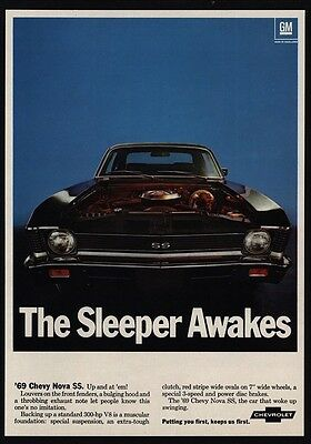 1969 CHEVROLET NOVA SS 300 HP V8 Muscle Car - Coupe - Sleeper Awakes VINTAGE AD