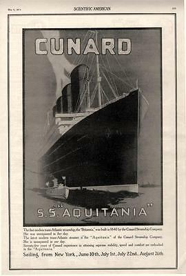 Cunard Steamship Company  -  S.S. Aquitania   -   Maiden Voyage     -   1914