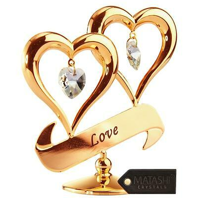 Mothers Day Gift 24k Gold Plated Double Heart Love Ornament w/ Matashi Crystals