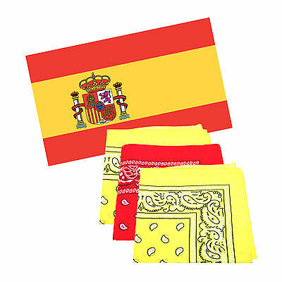 Spain 5 x 3 ft Flag with 3 Matching Bandanas