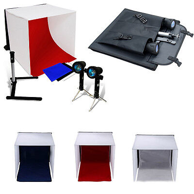 2x125W Photo Studio Softbox Soft Box Lighting Stand Kit & Black White Backdrop